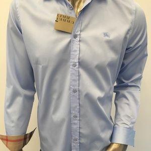 BURBERRY BRIT PALE BLUE SHIRT COTTON SMALL